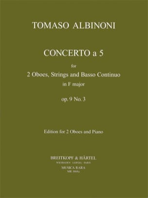 Tomaso Albinoni - Concerto a 5, op. 9 n° 3 - 2 Oboes-piano - Partition - di-arezzo.fr