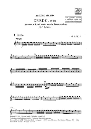 VIVALDI - Credo RV 591 - Sheet Music - di-arezzo.co.uk
