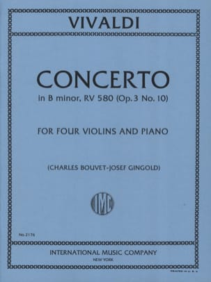 VIVALDI - Concerto in B minor RV 580 op. 3 n ° 10 - 4 Violins piano - Sheet Music - di-arezzo.co.uk