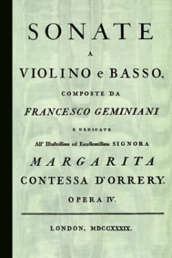 Francesco Geminiani - 12 Sonata a violin and basso, Opera Quarta - Sheet Music - di-arezzo.com