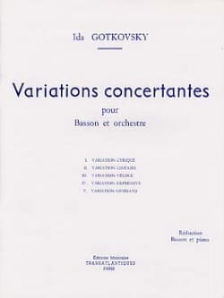 Variations concertantes Ida Gotkovsky Partition Basson - laflutedepan
