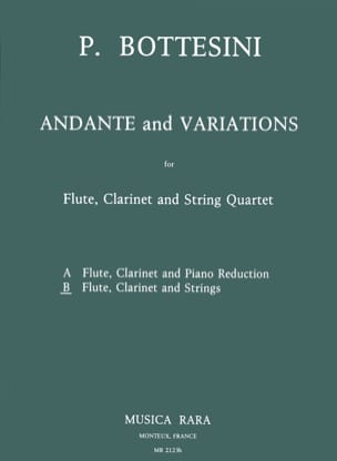Pietro Bottesini - Andante and Variations – Flute clarinet string quartet - Score + Parts - Partition - di-arezzo.fr