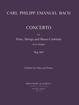 Carl Philipp Emanuel Bach - Concerto in G major Wq 169 - Flûte piano - Partition - di-arezzo.fr