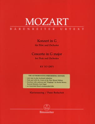 MOZART - Concerto for flute in G Major Solo KV 313 - Piano Flute - Partition - di-arezzo.co.uk