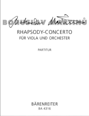 Bohuslav Martinu - Rhapsody Concerto für Viola und Orch. – Partitur - Partition - di-arezzo.fr