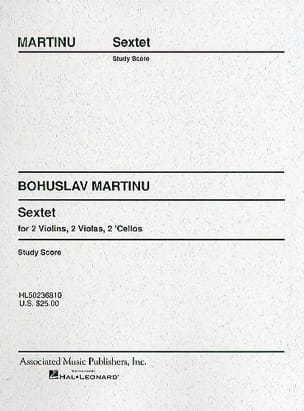 Bohuslav Martinu - Sextet - Strings – Score - Partition - di-arezzo.fr
