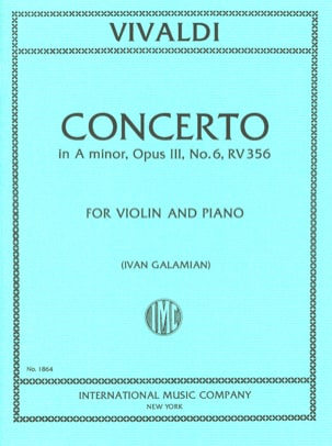 VIVALDI - Violin Concerto the minor, op. 3 n ° 6 RV 356 - Sheet Music - di-arezzo.com