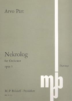 Arvo Pärt - Nekrolog op. 5 – Partitur - Partition - di-arezzo.fr