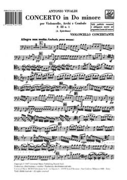 VIVALDI - Concerto en do min. - F. 3 n° 1 -Matériel - Partition - di-arezzo.fr