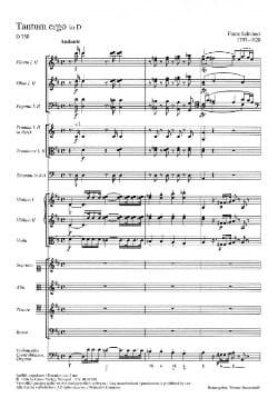 Franz Schubert - Tantum Ergo D-Dur D. 750 – Partitur - Partition - di-arezzo.fr