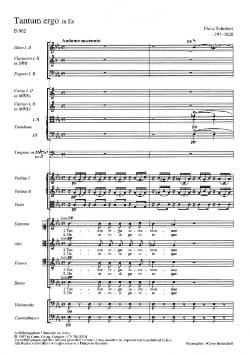 SCHUBERT - Tantum Ergo Es-Dur D. 962 - Partitur - Sheet Music - di-arezzo.co.uk