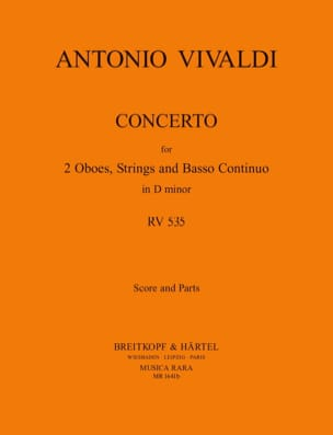 Concerto In D Minor Rv 535 / P 302 - 2 Oboes Strings Bc - laflutedepan.com