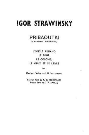 Igor Stravinsky - Pribaoutki - Score - Partition - di-arezzo.fr