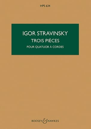 Igor Stravinsky - 3 Pieces for String Quartet - Score - Partition - di-arezzo.co.uk