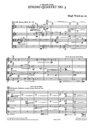 String Quartet n° 3 – Score - Hugh Wood - Partition - laflutedepan.com