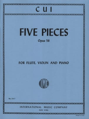 César Cui - 5 Pieces op. 56 - Flute, violin and piano - Partition - di-arezzo.fr