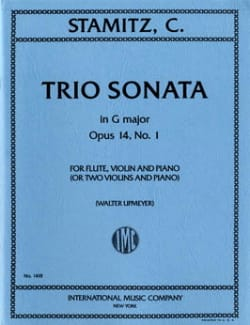 Carl Stamitz - Trio sonate G major op. 14 n° 1– Flute violin piano (or 2 vlns piano) - Partition - di-arezzo.fr