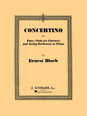 Concertino - Flute, viola clarinet piano BLOCH Partition laflutedepan