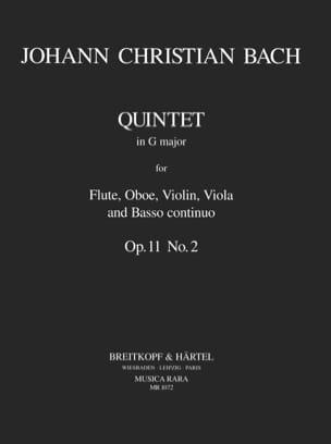 Johann Christian Bach - Quintette En Sol Maj., Op.11 N°2 - Flûte-Hautbois-Violon-Alto-B. C. - Partition - di-arezzo.fr