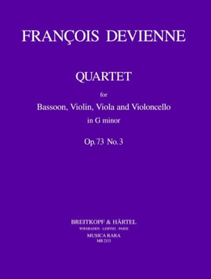 François Devienne - Quartet G minor op. 73 n° 3 - Bassoon violin viola cello - Partition - di-arezzo.fr