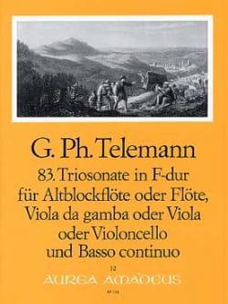 Georg Philipp Telemann - Triosonate Nr. 83 in F-Dur –Altblockflöte Viola da gamba Bc - Partition - di-arezzo.fr