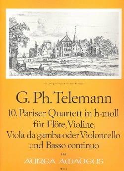 Georg Philipp Telemann - Pariser Quartett Nr. 10 h-moll –Flöte Violine Viola da gamba BC - Partition - di-arezzo.fr