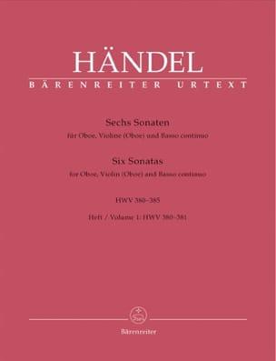 HAENDEL - 6 Sonaten HWV 380-385 - Heft 1 : 380-381 -Oboe Violine Oboe u. Bc - Partition - di-arezzo.fr
