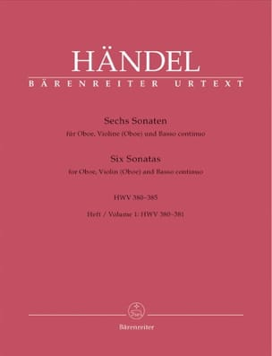6 Sonaten HWV 380-385 - Heft 1 : 380-381 –Oboe Violine (Oboe) u. Bc - laflutedepan.com