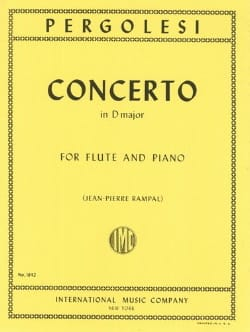 Concerto in D major - Flute piano PERGOLESE Partition laflutedepan