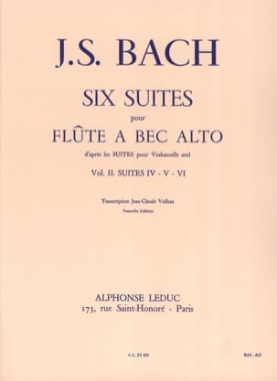 BACH - 6 Suites - Volume 2 - Alto Recorder - Partitura - di-arezzo.it