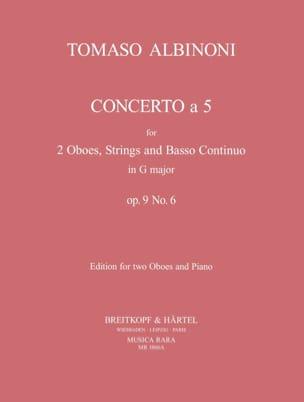 Tomaso Albinoni - Concerto a 5 op. 9 n° 6 - 2 Oboes piano - Partition - di-arezzo.fr