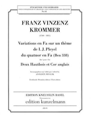 Franz Vizenz Krommer - Variations en Fa sur un thème de Pleyel - Partition - di-arezzo.fr