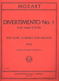 MOZART - Divertimento No. 1 KV 439a in Bb Major - Parts - Partition - di-arezzo.co.uk