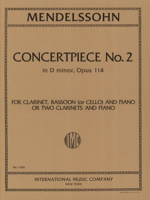MENDELSSOHN - Concertpiece N° 2 Op. 114 -2 Clarinettes Piano - Partition - di-arezzo.fr