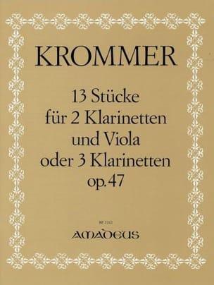 Franz Krommer - 13 Stücke op. 47 - 2 Klarinetten u. Viola o. 3 Klarinetten - Stimmen - Sheet Music - di-arezzo.com