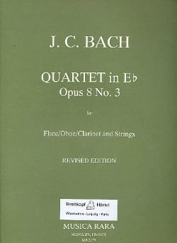 Johann Christian Bach - Quartet in Eb major op. 8 n° 3 – Flute Strings - Parts - Partition - di-arezzo.fr