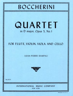 BOCCHERINI - Quartet in D major op. 5 n° 1 - Flute violin viola cello - Parts - Partition - di-arezzo.fr