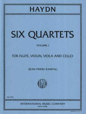 Joseph Haydn - 6 Quartets (Volume 1) – Flute violin viola cello - Parts - Partition - di-arezzo.fr