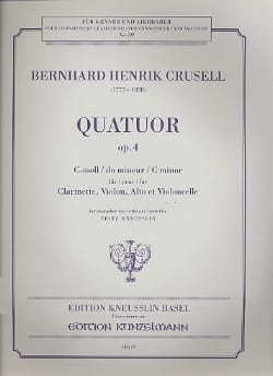Bernhard Henrik Crusell - Quartet op. 4 in C minor - Clarinet, violin, viola and cello - Sheet Music - di-arezzo.com