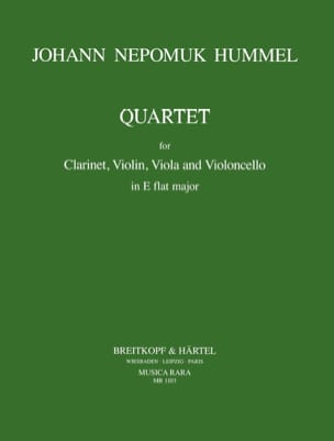 HUMMEL - Quartet E flat maj. - violin clarinet viola cello - Sheet Music - di-arezzo.com