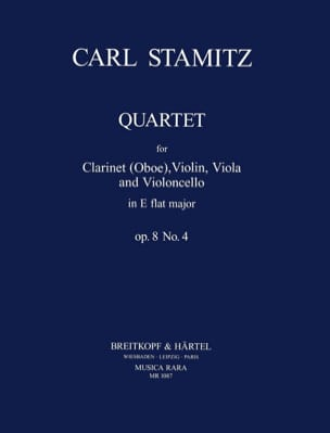 Carl Stamitz - Quartet E flat maj. op. 8 n° 4 - Clarinet violin viola cello - Partition - di-arezzo.fr