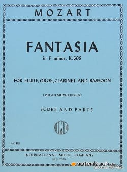 Fantasia in F minor KV 608 - Flute oboe clarinet bassoon - Score + parts laflutedepan