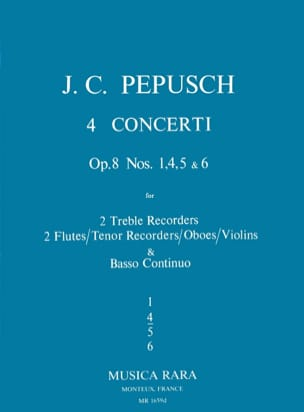 Johann Christoph Pepusch - 4 Concerti op. 8 : N° 4 – 2 Treble recorders 2 Flutes BC - Partition - di-arezzo.fr