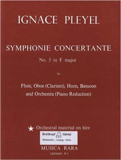 Ignaz Pleyel - Symphonie concertante N° 5 in F major - flute oboe horn bassoon piano red. - Partition - di-arezzo.fr