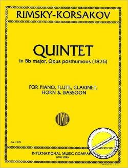 Nicolaï Rimsky-Korsakov - Quintet Bb major op. posth. 1876 -piano flute clarinet horn bassoon - Partition - di-arezzo.fr