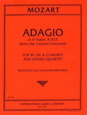 Wolfgang Amadeus Mozart - Adagio D major KV 622 – Clarinet String quartet - Partition - di-arezzo.fr
