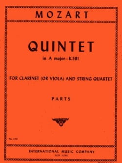 Wolfgang Amadeus Mozart - Quintet A major KV 581 Clarinet (viola) string quartet – Parts - Partition - di-arezzo.fr