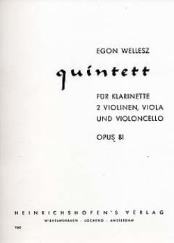 Egon Wellesz - Quintett op. 81 - Klarinette 2 Violinen Viola Cello - Sheet Music - di-arezzo.co.uk