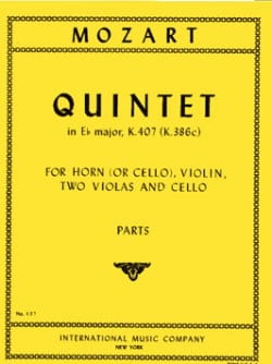 MOZART - Quintet in E Flat Major KV 407 – Horn Violin 2 Violas Cello - Parts - Partition - di-arezzo.fr