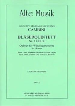 Giuseppe Maria Cambini - Bläserquintett Nr. 3 F-Dur –Stimmen - Partition - di-arezzo.fr